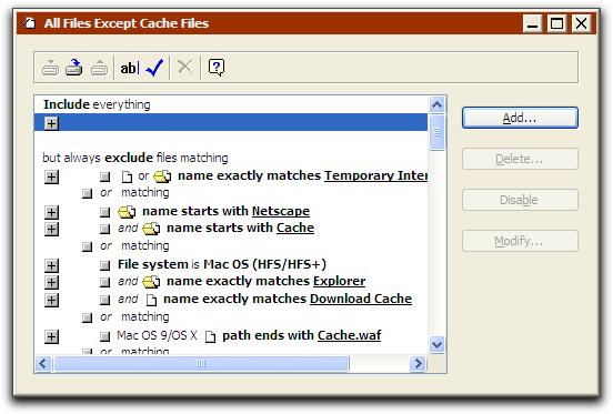 retrospective on backup defining built in selectors filters for
